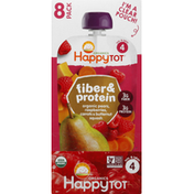 Happy Tot Fruit & Veggie Blend, Organic, Pears, Raspberries, Carrots & Butternut, Squash, 4 (Tots & Tykes), 8 Pack