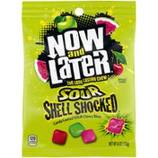Now and Later Candy, Coated, Chewy Bites, Sour, Shell Shocked