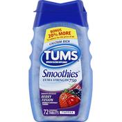 Tums Antacid/Calcium Supplement, Extra Strength 750, Berry Fusion, Chewable Tablets, Bonus