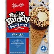 Friendly's Ice Cream Cones, Vanilla, Super Scoops, 4 Pack