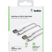 Belkin Cable, Lightning to USB-A, 2 Pack