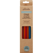 Primula Straw, Assorted Colors, Reusable, 12 Pack