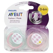 Avent Pacifiers, Orthodontic, Fashion, Step 1 (0-6 Months)