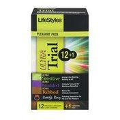 LifeStyles Pleasure Pack Ultra Premium Lubricated Latex Condoms Trial