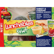 Lunchables Lunch Combinations, Turkey & Cheddar Flatbread Sandwich, with Fruit
