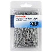 Oic Paper Clips, Vinyl Coated, Silver Color