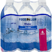 Food Lion Water, Purified, 6 Pack