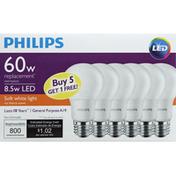 Philips Light Bulbs, LED, Soft White Light, 8.5 Watts