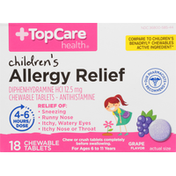 TopCare Allergy Relief, 12.5 mg, Chewable Tablets, Grape Flavor, Children's