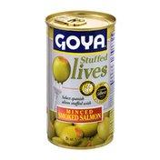Goya Stuffed Olives, with Minced Smoked Salmon