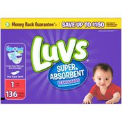 Luvs Super Absorbent Leakguards Newborn Diapers Size 1 136 count  Diapers