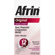 Afrin Nasal Decongestant, Maximum Strength, Nasal Spray, Original