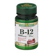 Nature's Bounty B-12 5000mcg Natural Cherry Microlozenges Vitamin Suppletment - 30 CT