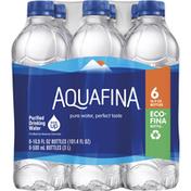 Aquafina Drinking Water, Purified, 6 Pack