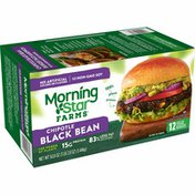 Morning Star Farms Veggie Burgers, Plant Based Protein, Frozen Meal, Chipotle Black Bean