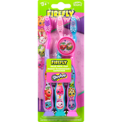 Firefly Toothbrushes + Cap, Shopkins, Soft, Value Pack