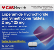 CVS Health Loperamide Hydrochloride and Simethicone Tablets, 2 mg/125 mg, Caplets
