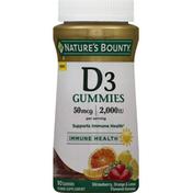 Nature's Bounty D3 Gummies 2000IU Strawberry, Orange & Lemon