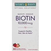 Nature's Bounty Biotin, 10,000 mcg, Quick Dissolve Tablets, Strawberry Flavored