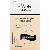 Verde Paper Straw, White, Wrapped, 7-3/4 Inch