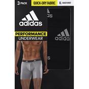 adidas Men's Performance Boxer Briefs – 3 Pack - XL - Black/Light Onix Grey