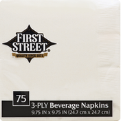 First Street Beverage Napkins, Ivory, 3-Ply