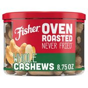 Fisher Oven Roasted Never Fried Whole Cashews with Sea Salt