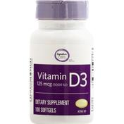 Signature Home Vitamin D3, 5000 IU, Softgels
