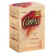 Caress Beauty Bar, Daily Silk White, Peach & Orange Blossom, Vacuum Packed