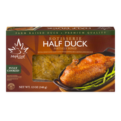 Maple Leaf Farms Our Rotisserie Half Duck is fully cooked, roasted to perfection.  Pre-seasoned with a delectable blend of spices, creating a delicious & convenient entrée. From the oven to the table in just minutes!
