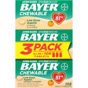 Bayer Aspirin, Low Dosage, 81 mg, Chewable Tablets, Orange Flavored, 3 Pack