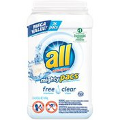 All Mighty Pacs Super Concentrated With Stainlifters Free Clear 76 Loads Laundry Detergent