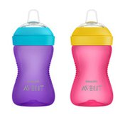 Philips Avent Avent My Grippy Spout Sippy Cup with Soft Spout and Leak-Proof Design, Pink/Purple, 10oz, 2pk, SCF801/23