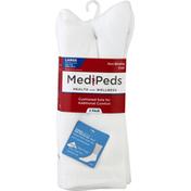 MediPeds Socks, Non-Binding, Crew, White, Large