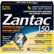 Zantac 150 Maximum Strength Cool Mint 150mg Tablets Acid Reducer