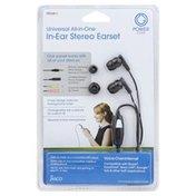 Power Gear Earset, In-Ear Stereo, Universal All-In-One
