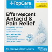 TopCare Antacid & Pain Relief Aspirin (Nsaid)/Pain Reliever, Citric Acid/Antacid, Sodium Bicarbonate/Antacid Effervescent Tablets, Original