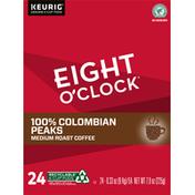 Eight O'Clock Coffee Coffee, Medium Roast, 100% Colombian Peaks, K-Cup Pods, 24 Pack