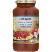 Food Lion Pasta Sauce, Tomato, Onion & Garlic, Chunky