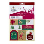 Smart Living Holiday Foil Gift Tags Peel 'N Stick - 52 CT