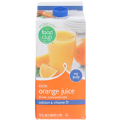 Food Club No Pulp 100% Orange Juice From Concentrate