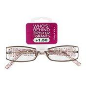 Foster Grants Non-Prescription Glasses Fashion +1.50 Leelah BRN