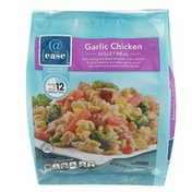 @ Ease Garlic Chicken Broccoli, Corn, Carrots & Rotini Pasta In An Italian Garlic Sauce With Seasoned Grilled Chicken Breast Skillet Meal