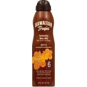 Hawaiian Tropic Sunscreen, Tanning Dry Oil, Clear Spray, SPF 6