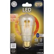 GE Light Bulb, LED, Vintage Style, Warm Candle Light, 5 Watts