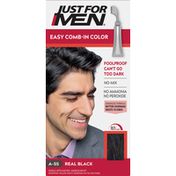 Just For Men Hair Color Kit, Single Application, Easy Comb-In Color, Real Black A-55