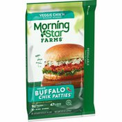 Morning Star Farms Meatless Chicken Patties, Plant Based Protein Vegan Meat, Buffalo