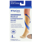 TopCare Firm Support Medical Beige Closed-Toe Below Knee Compression Socks For Men And Women, Large