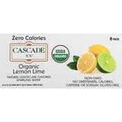 Cascade Ice Sparkling Water, Organic, Lemon Lime, 8 Pack