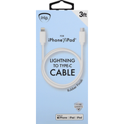 iHip Cable, Lightning to Type-C, Rubber Finish, 3 Feet